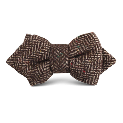 Herringbone Chestnut Wool Kids Diamond Bow Tie