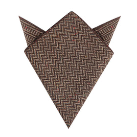 Herringbone Chestnut Wool Pocket Square