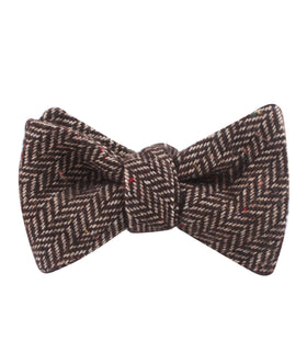 Herringbone Chestnut Wool Self Bow Tie