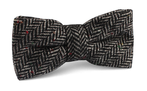 Herringbone Raven Black Wool Bow Tie