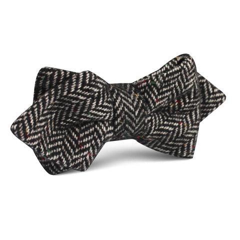 Herringbone Raven Black Wool Diamond Bow Tie
