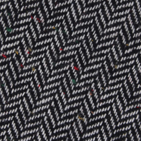 Herringbone Raven Black Wool Pocket Square