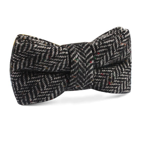 Herringbone Raven Black Wool Kids Bow Tie