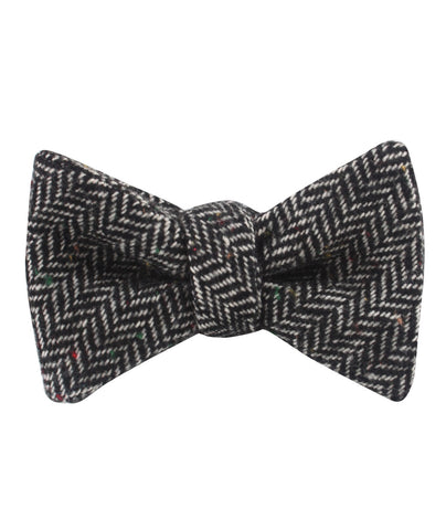 Herringbone Raven Black Wool Self Bow Tie