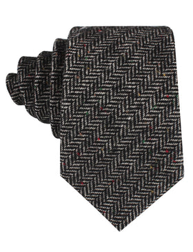 Herringbone Raven Black Wool Tie