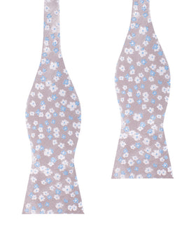 Hitachi Seaside Blue and White Floral Self Bow Tie