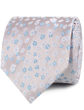 Hitachi Seaside Blue and White Floral Necktie