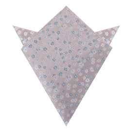 Hitachi Seaside Blue and White Floral Pocket Square