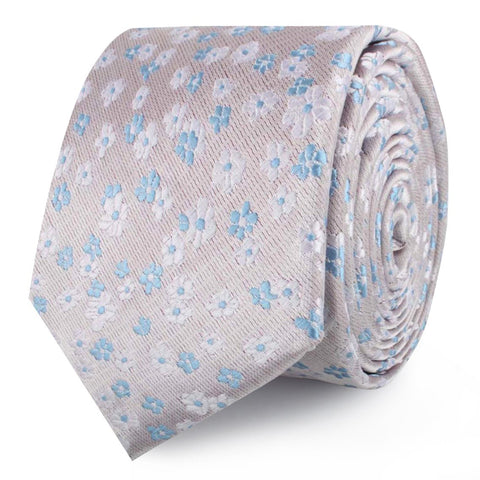 Hitachi Seaside Blue and White Floral Skinny Tie