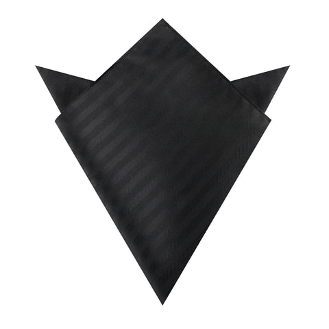 Hitchcock Midnight Black Striped Pocket Square