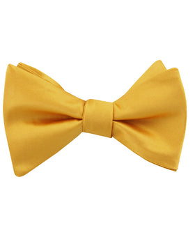 Honey Gold Yellow Satin Self Bow Tie