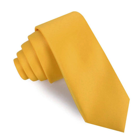 Honey Gold Yellow Satin Skinny Tie