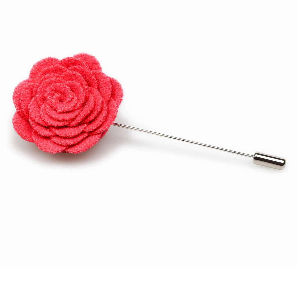 Hot Pink Wool Flower Lapel Pin