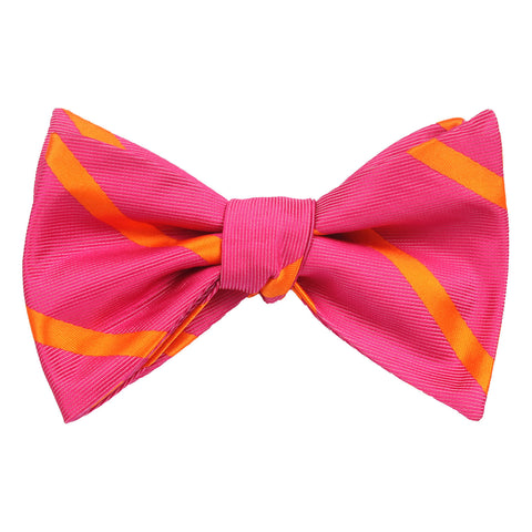 Hot Pink with Orange Diagonal - Bow Tie (Untied)