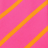 Hot Pink with Orange Diagonal Fabric Skinny Tie X466