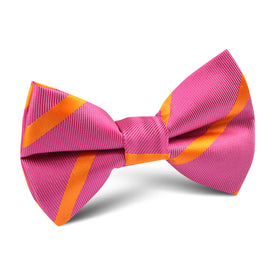 Hot Pink with Orange Diagonal Kids Bow Tie