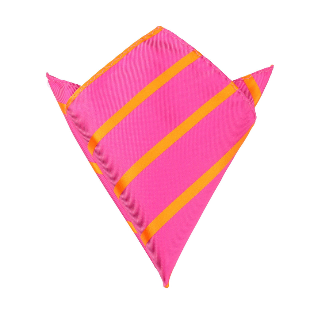 Hot Pink with Orange Diagonal - Pocket Square