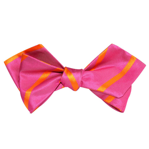 Hot Pink with Orange Diagonal Self Tie Diamond Tip Bow Tie