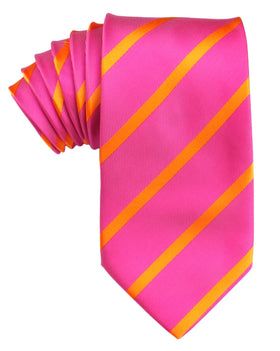 Hot Pink with Orange Diagonal Tie