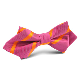 Hot Pink with Orange Diamond Bow Tie