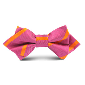 Hot Pink with Orange Kids Diamond Bow Tie