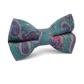 Hunter Green Isfahan Paisley Kids Bow Tie
