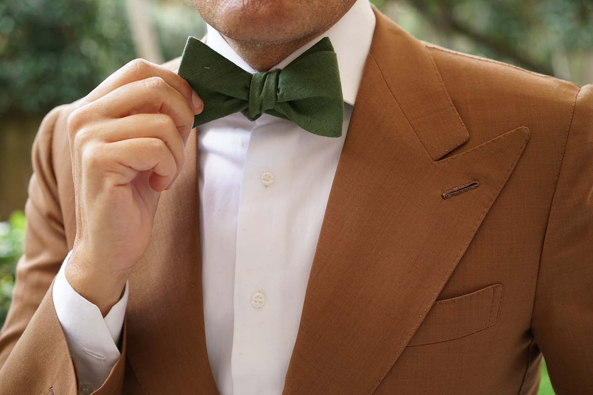 Hunter Green Slub Linen Self Bow Tie