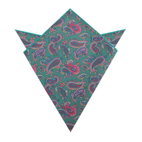 Hunter Green Isfahan Paisley Pocket Square