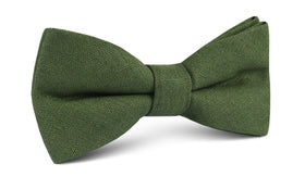 Hunter Green Slub Linen Bow Tie