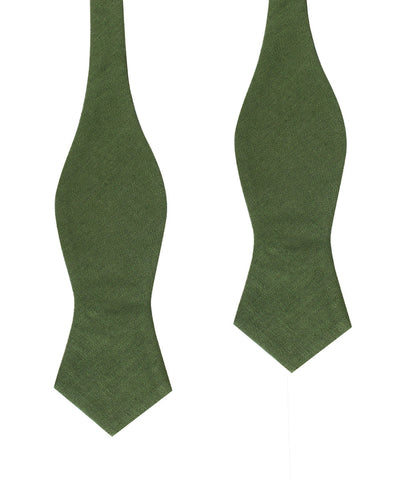 Hunter Green Slub Linen Diamond Self Bow Tie
