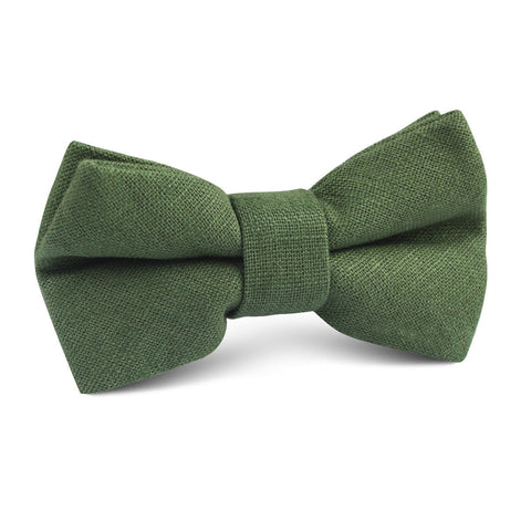 Hunter Green Slub Linen Kids Bow Tie
