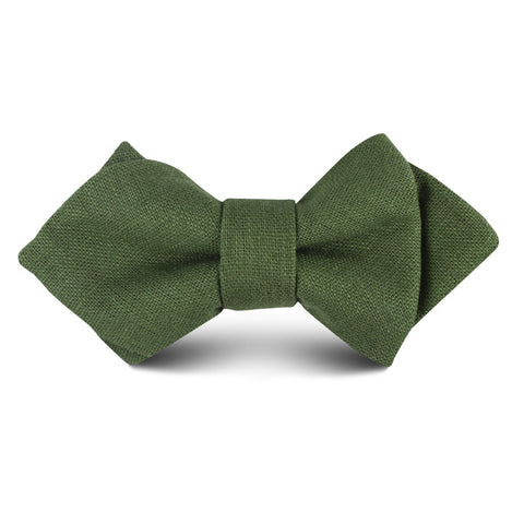 Hunter Green Slub Linen Kids Diamond Bow Tie