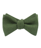 Hunter Green Slub Linen Self Tied Bowtie