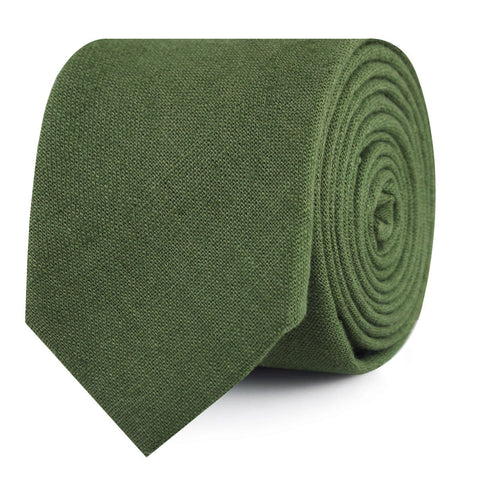 Hunter Green Slub Linen Skinny Tie