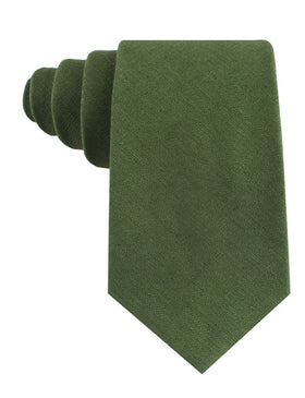 Hunter Green Slub Linen Tie