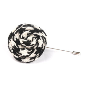 Hypnosis Spiral Black and White Lapel Flower Pin Front Boutonniere