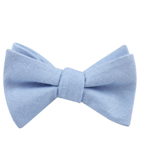 Ice Blue Linen Self Bow Tie