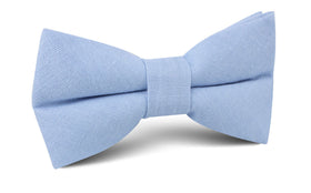 Ice Blue Linen Bow Tie