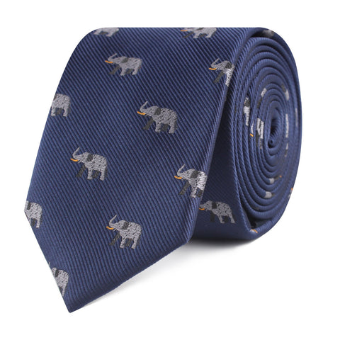 Indian Elephant Skinny Tie