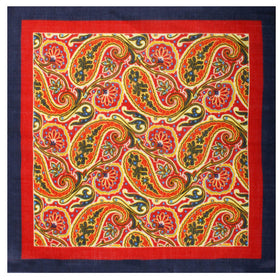 Indiana Jones Orange Paisley Wool Pocket Square