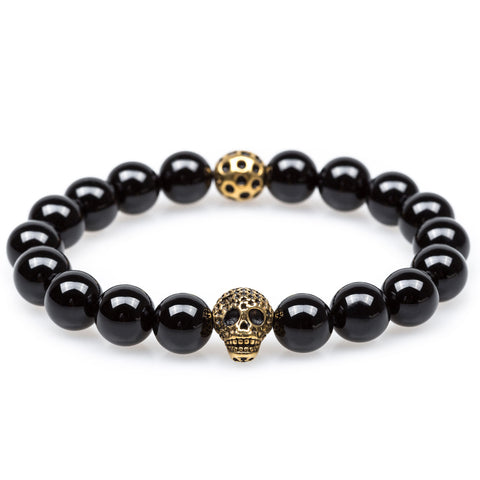 Indiana Jones Black Onyx Gold Skull Bracelet