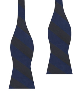 Indigo Blue-Black Striped Self Bow Tie