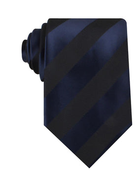 Indigo Blue-Black Striped Necktie