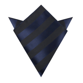 Indigo Blue-Black Striped Pocket Square
