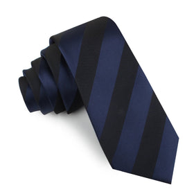 Indigo Blue-Black Striped Skinny Tie