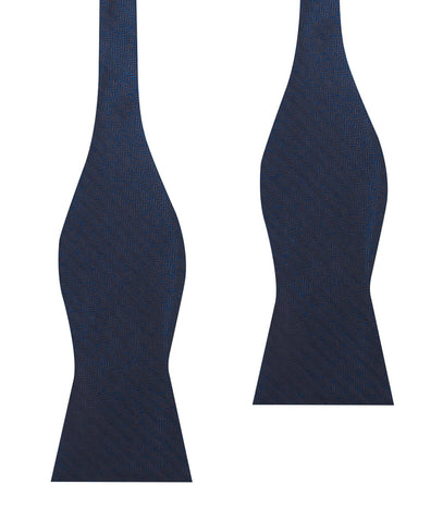 Indigo Blue Herringbone Self Bow Tie