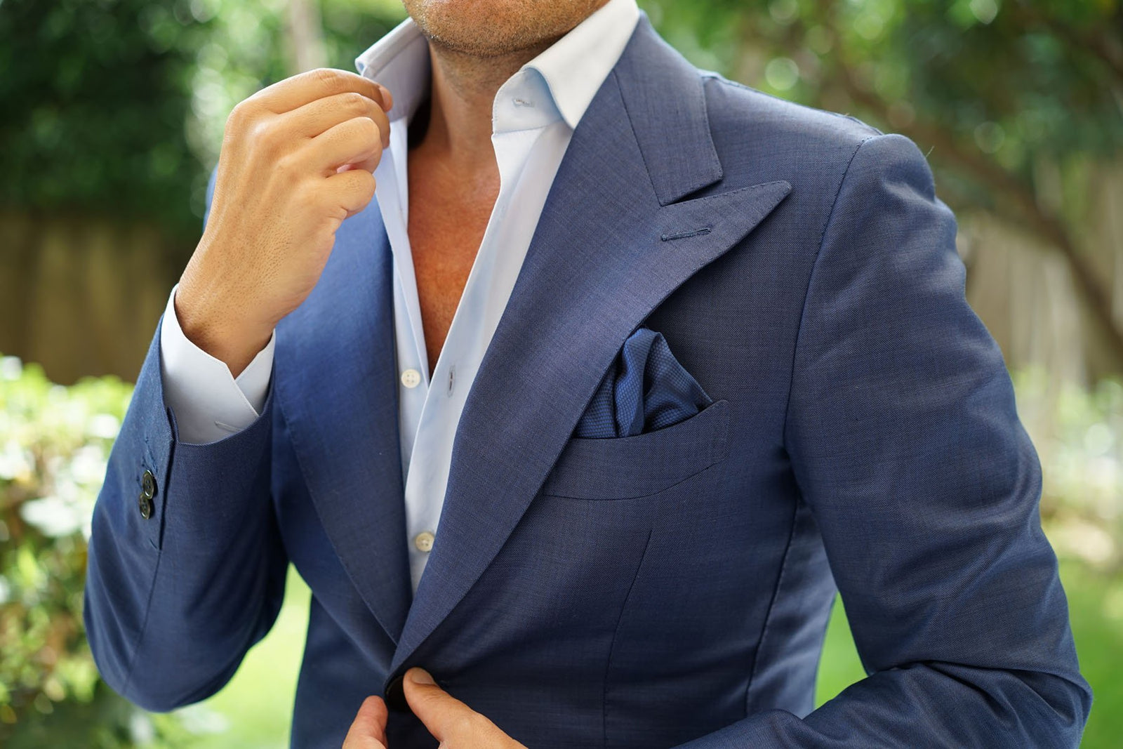 Indigo Navy Honeycomb Pocket Square