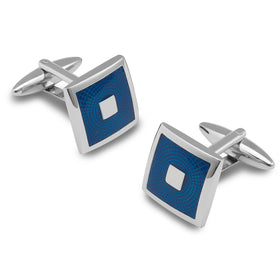 Infinity Blue and Silver Square Cufflinks