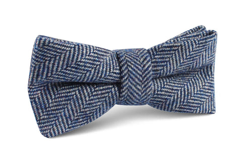 Irish Herringbone Blue Wool Bow Tie