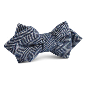 Irish Herringbone Blue Wool Diamond Bow Tie
